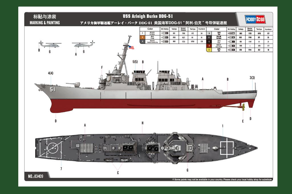 Montage chrono [SHANGHAÏ DRAGON] Destroyer lance missiles U.S.S COCHRANE 1/700ème Réf 7024 - Page 2 Hobbyboss-83409-4