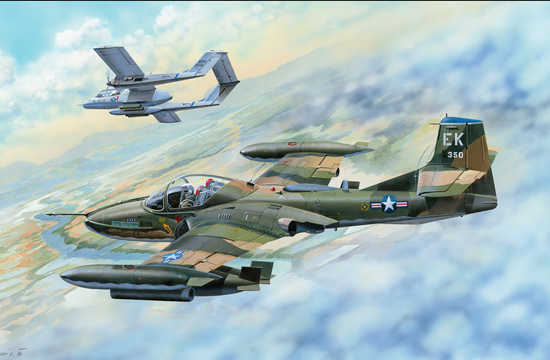Maquette Trumpeter 02889 US A-37B Dragonfly Light Ground-Attack Aircraft